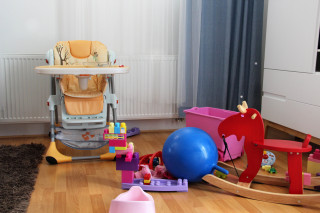 Beautiful children room with a lot of toys